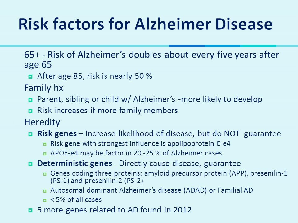 Risk factors for Alzheimer Disease