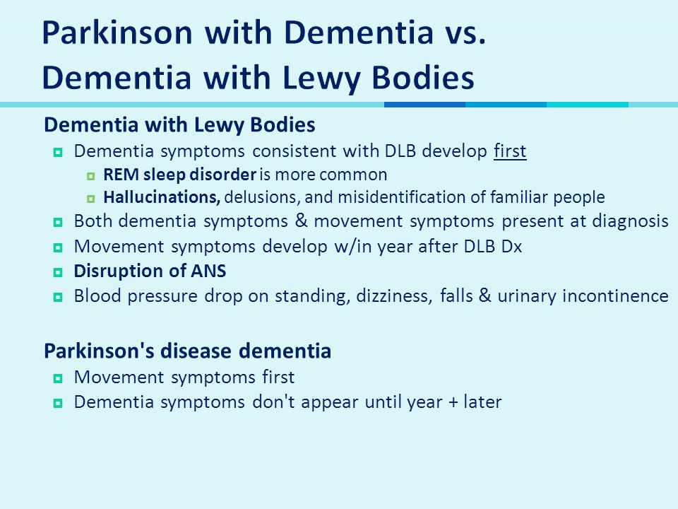 Parkinson with Dementia vs. Dementia with Lewy Bodies