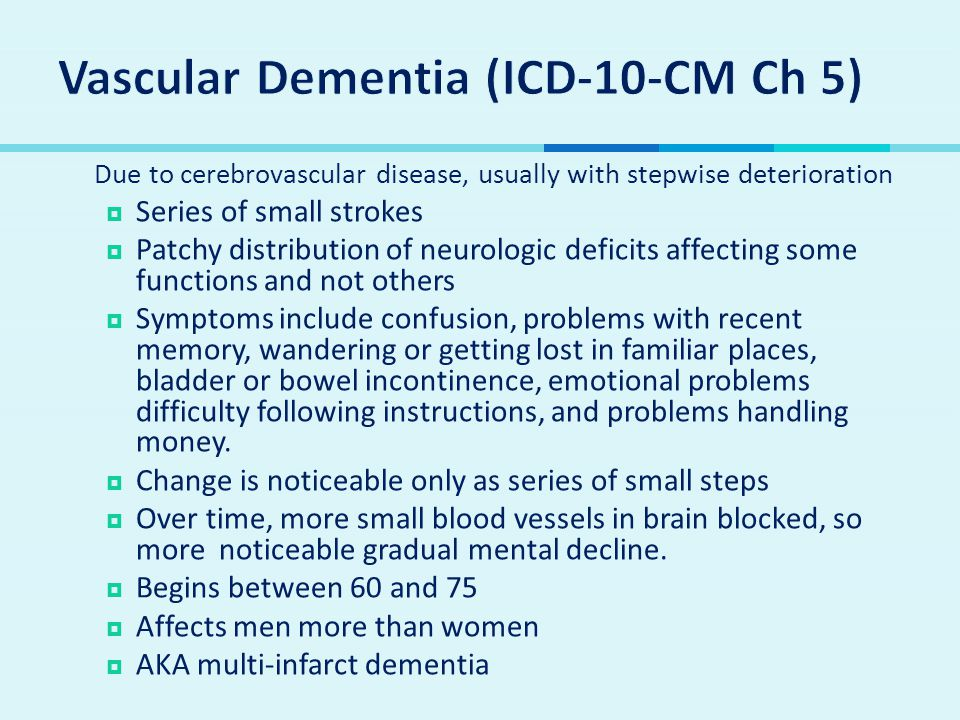 Vascular Dementia (ICD-10-CM Ch 5)