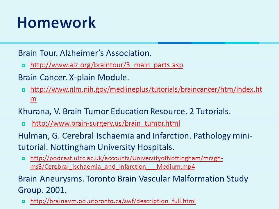 Homework Brain Tour. Alzheimer's Association.