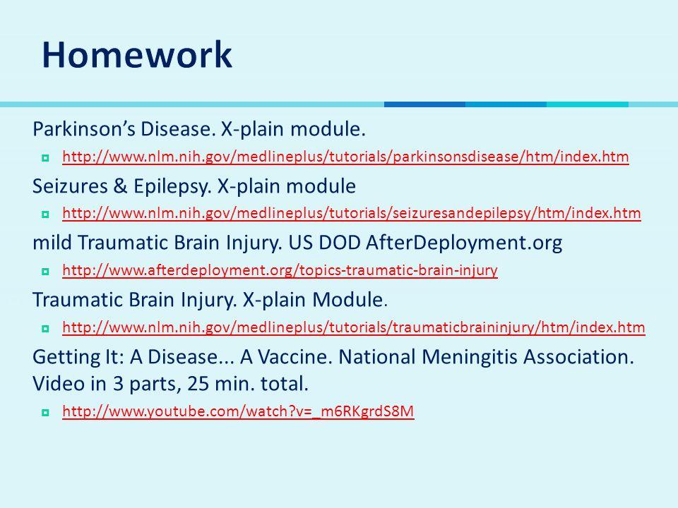 Homework Parkinson's Disease. X-plain module.