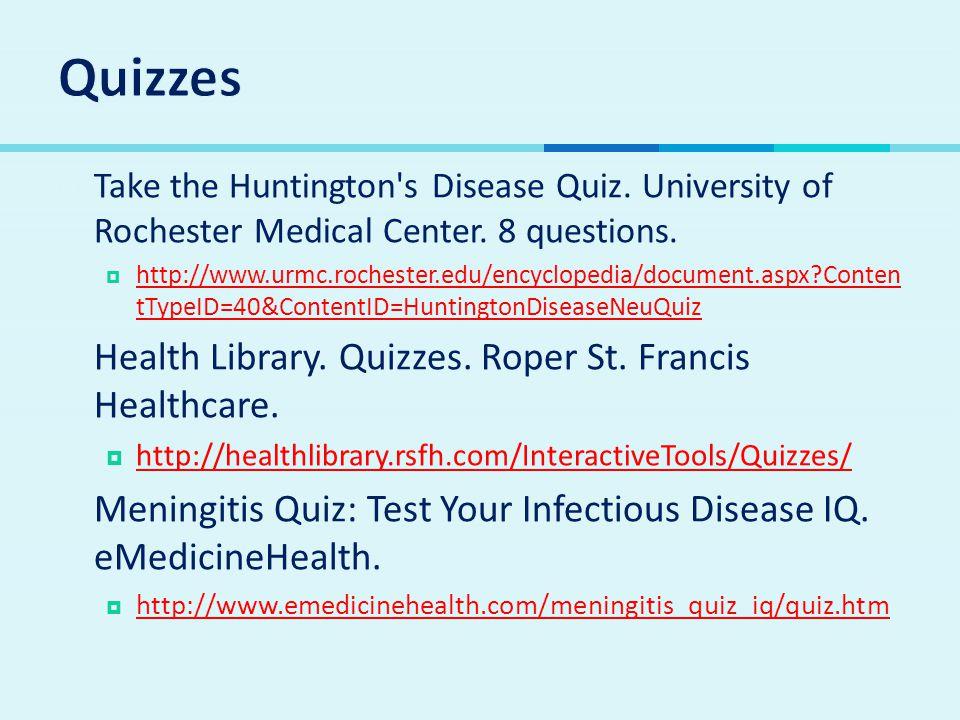 Quizzes Health Library. Quizzes. Roper St. Francis Healthcare.
