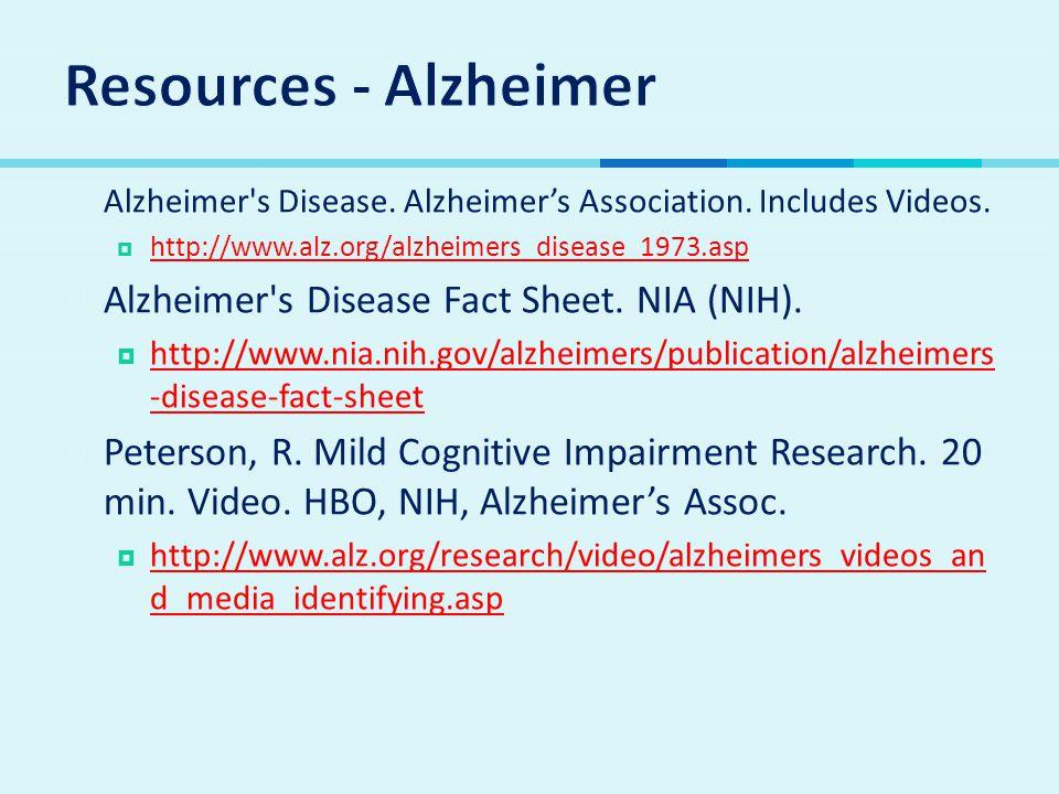 Resources - Alzheimer Alzheimer s Disease Fact Sheet. NIA (NIH).