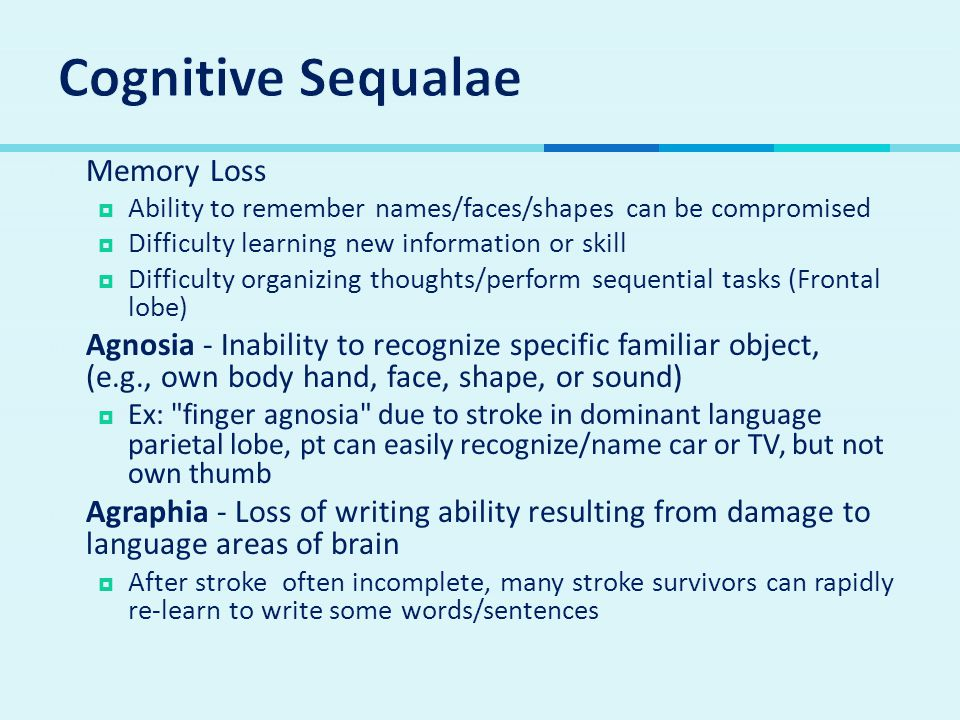 Cognitive Sequalae Memory Loss