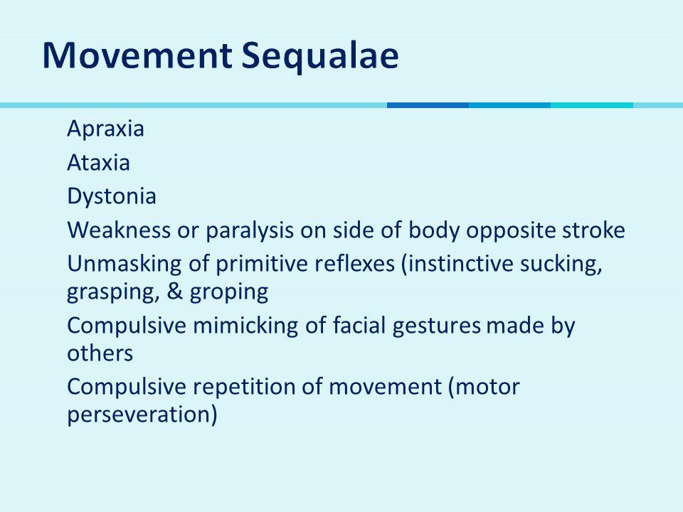 Movement Sequalae Apraxia Ataxia Dystonia