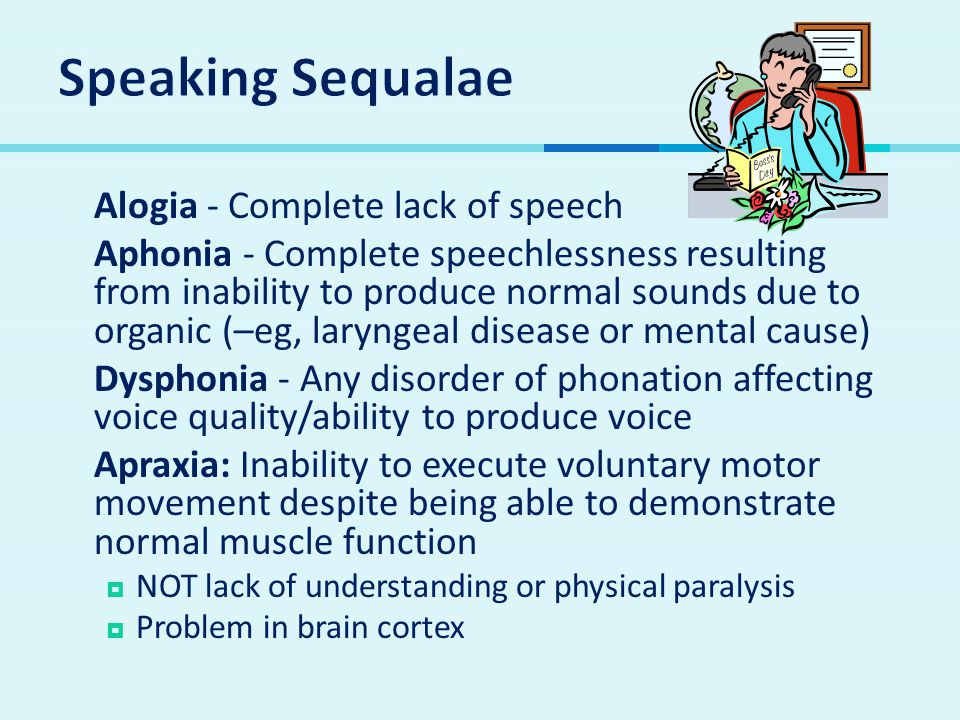 Speaking Sequalae Alogia - Complete lack of speech