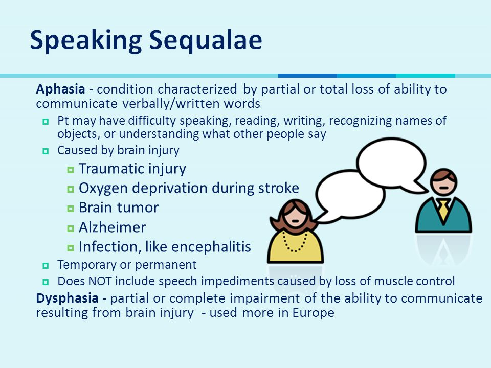 Speaking Sequalae Traumatic injury Oxygen deprivation during stroke