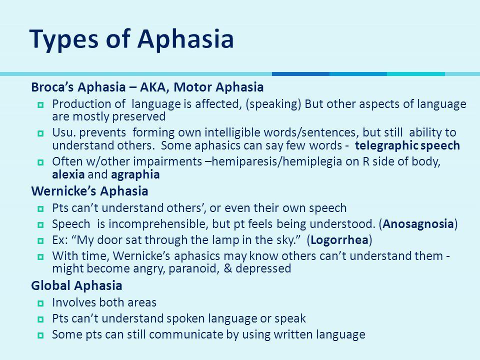 Types of Aphasia Broca's Aphasia – AKA, Motor Aphasia