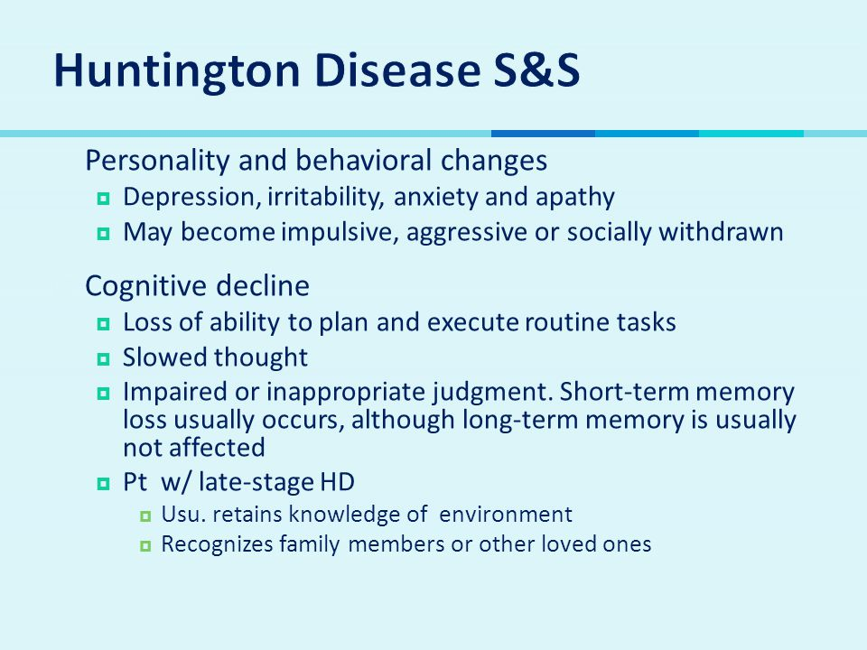 Huntington Disease S&S