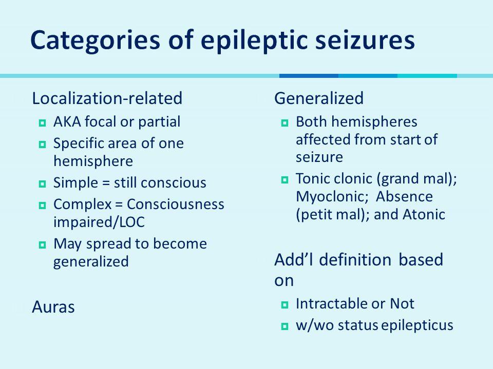 Categories of epileptic seizures
