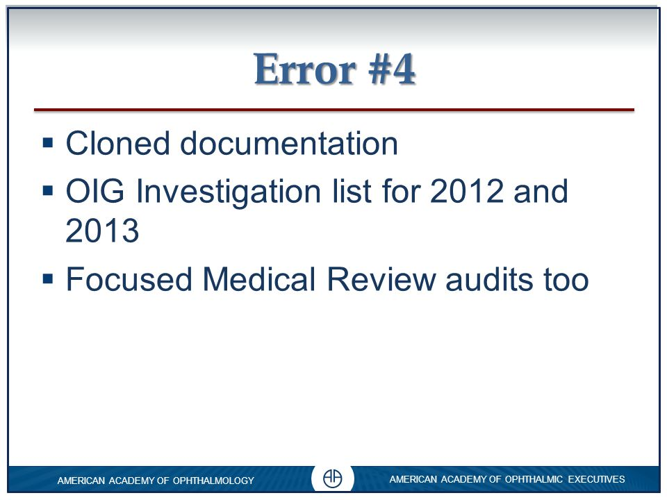 Error #4 Cloned documentation OIG Investigation list for 2012 and 2013