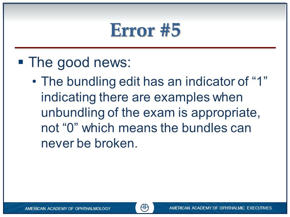 Error #5 The good news:
