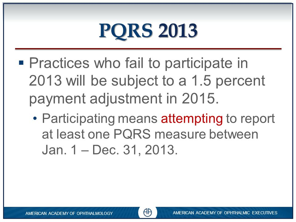 PQRS 2013 Practices who fail to participate in 2013 will be subject to a 1.5 percent payment adjustment in 2015.