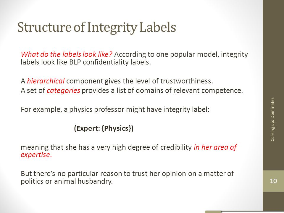 Structure of Integrity Labels