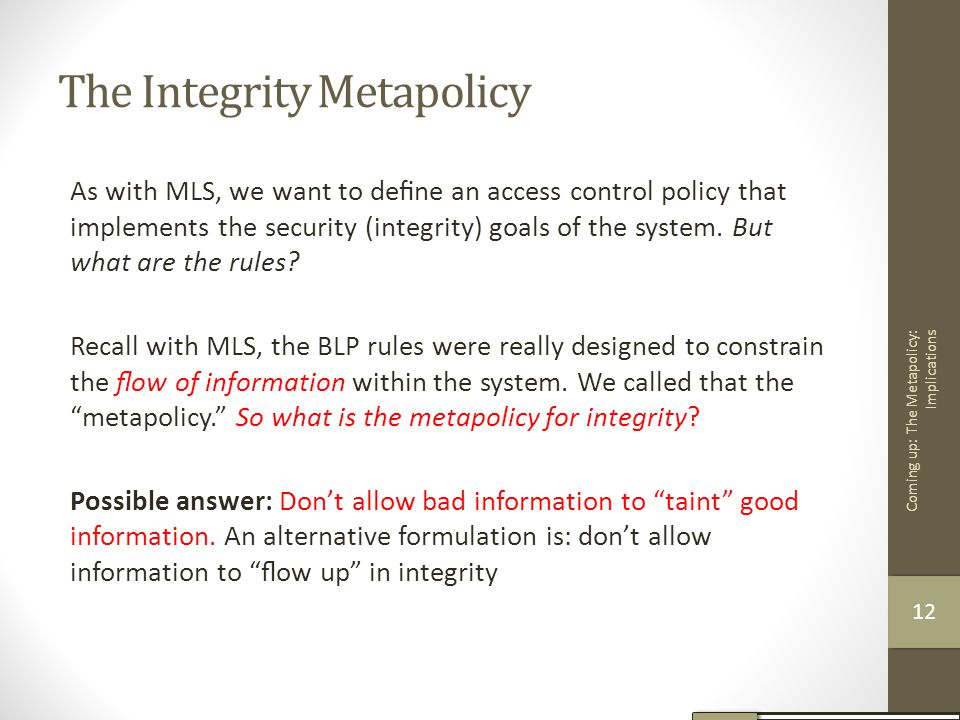 The Integrity Metapolicy