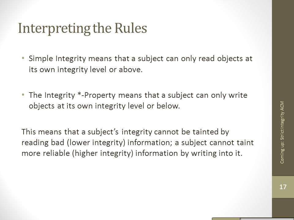 Interpreting the Rules