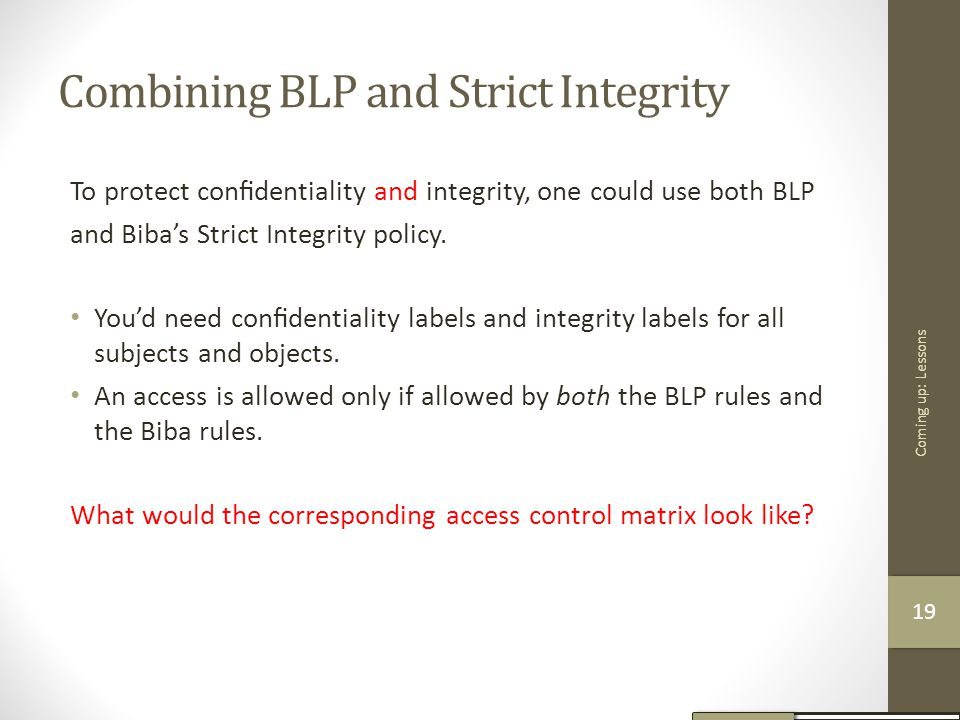 Combining BLP and Strict Integrity