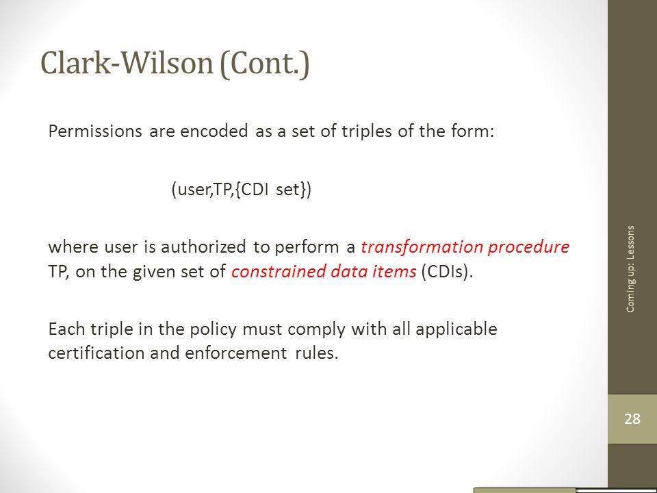 Clark-Wilson (Cont.)