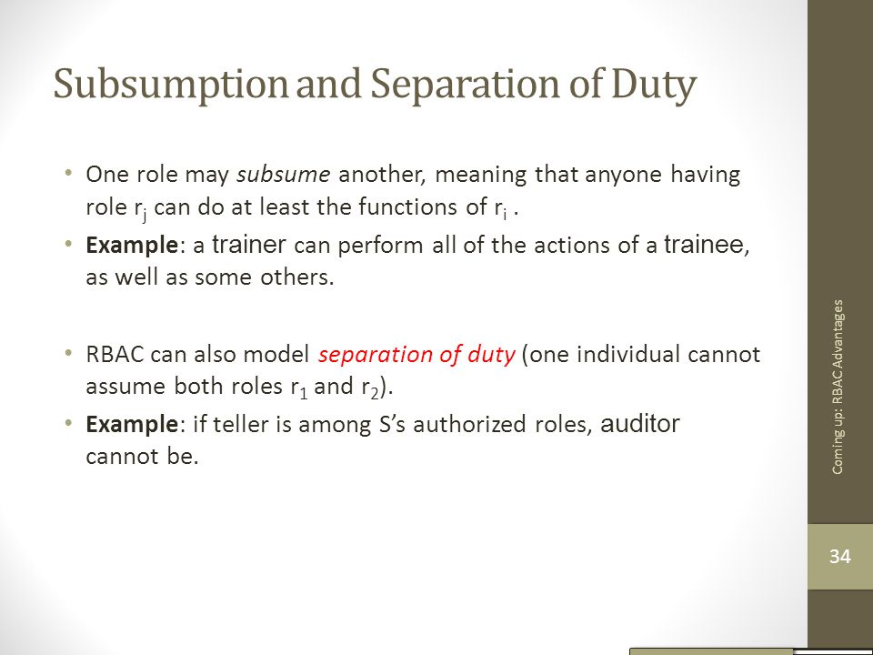 Subsumption and Separation of Duty