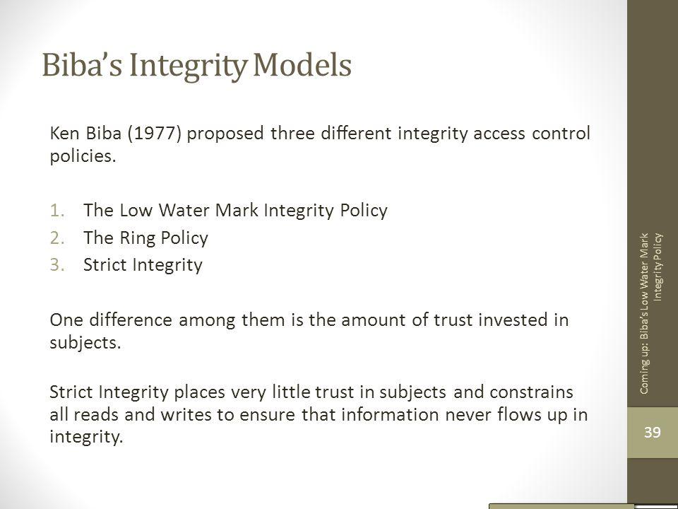 Biba's Integrity Models