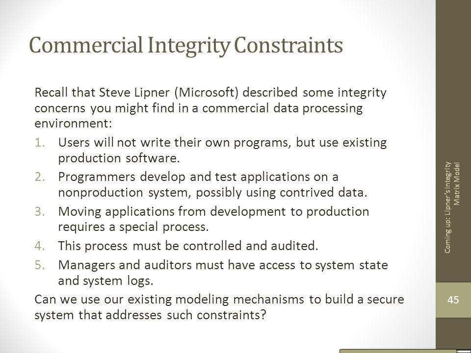 Commercial Integrity Constraints