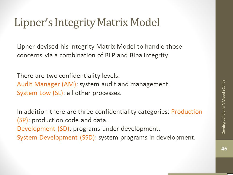 Lipner's Integrity Matrix Model