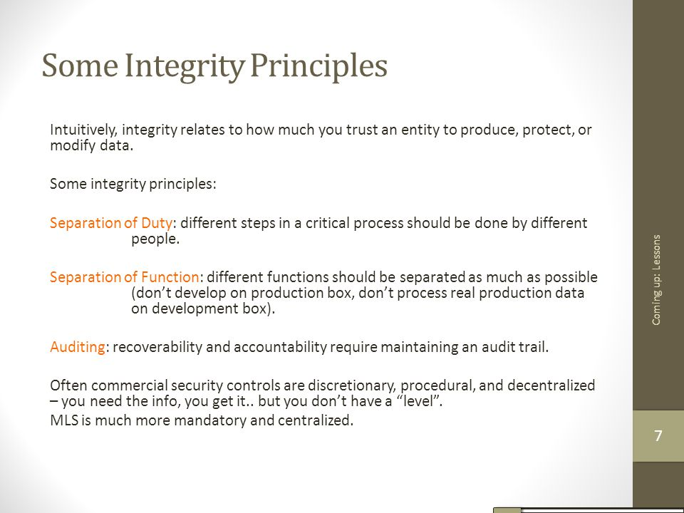 Some Integrity Principles