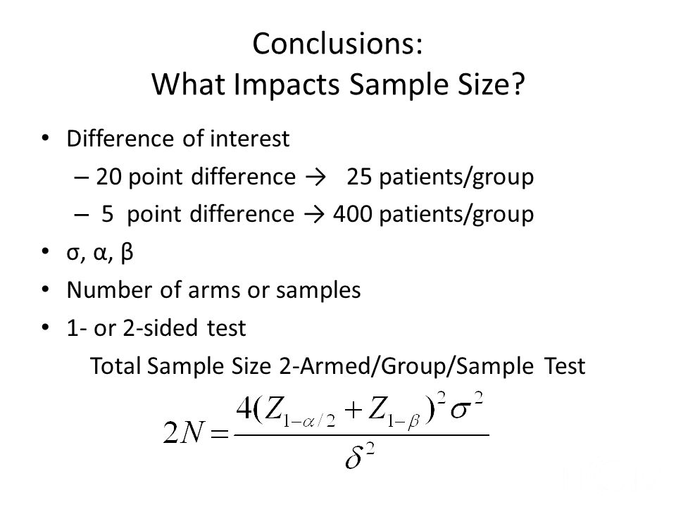 Conclusions: What Impacts Sample Size