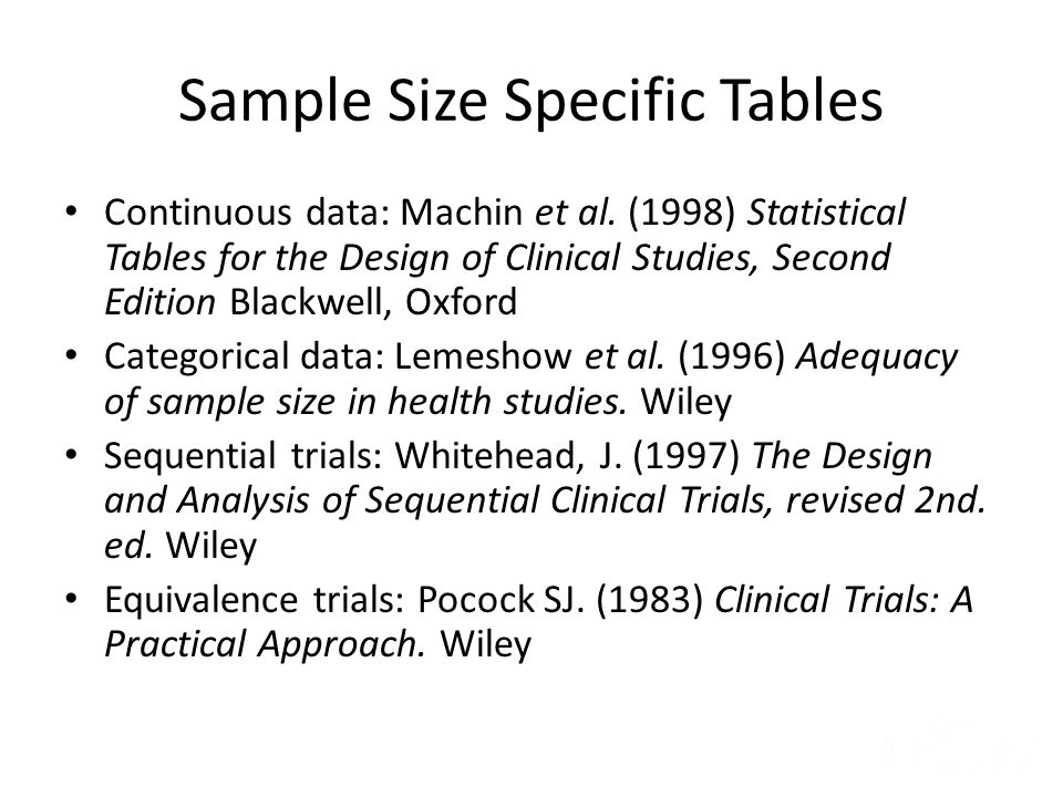 Sample Size Specific Tables