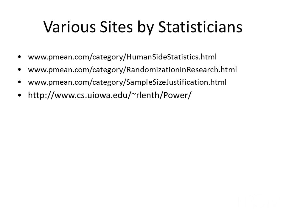 Various Sites by Statisticians