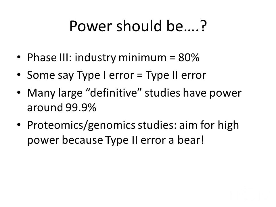 Power should be…. Phase III: industry minimum = 80%