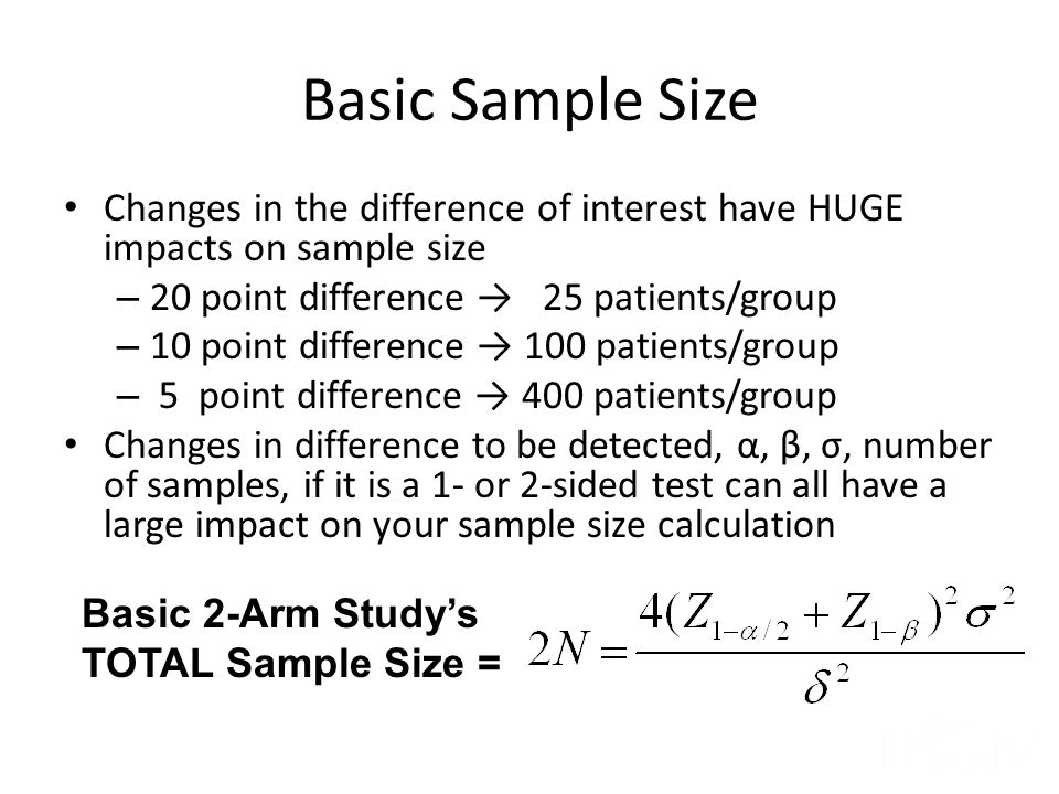 Basic Sample Size Changes in the difference of interest have HUGE impacts on sample size. 20 point difference → 25 patients/group.