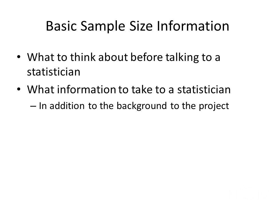 Basic Sample Size Information