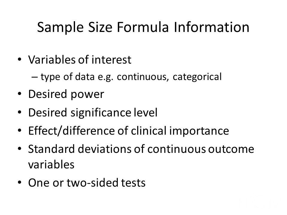 Sample Size Formula Information