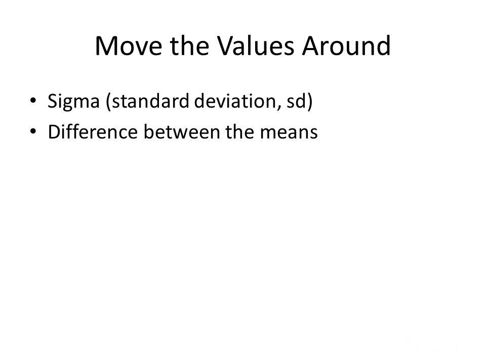 Move the Values Around Sigma (standard deviation, sd)
