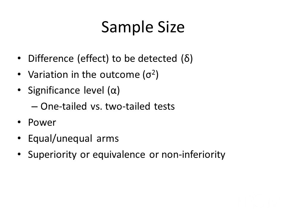 Sample Size Difference (effect) to be detected (δ)