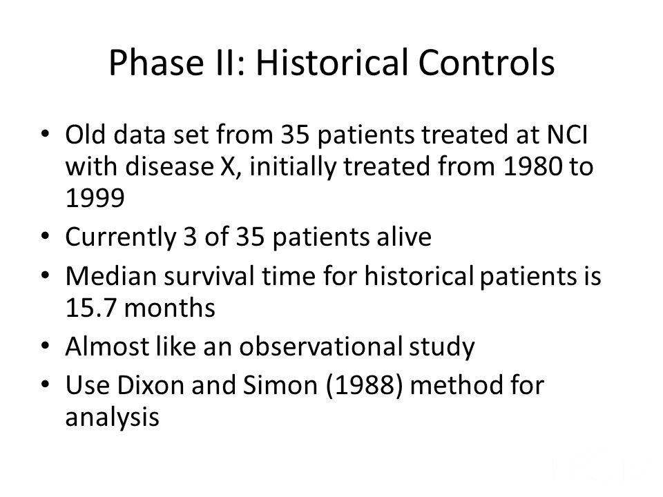 Phase II: Historical Controls
