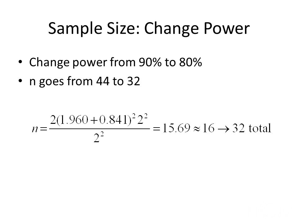 Sample Size: Change Power
