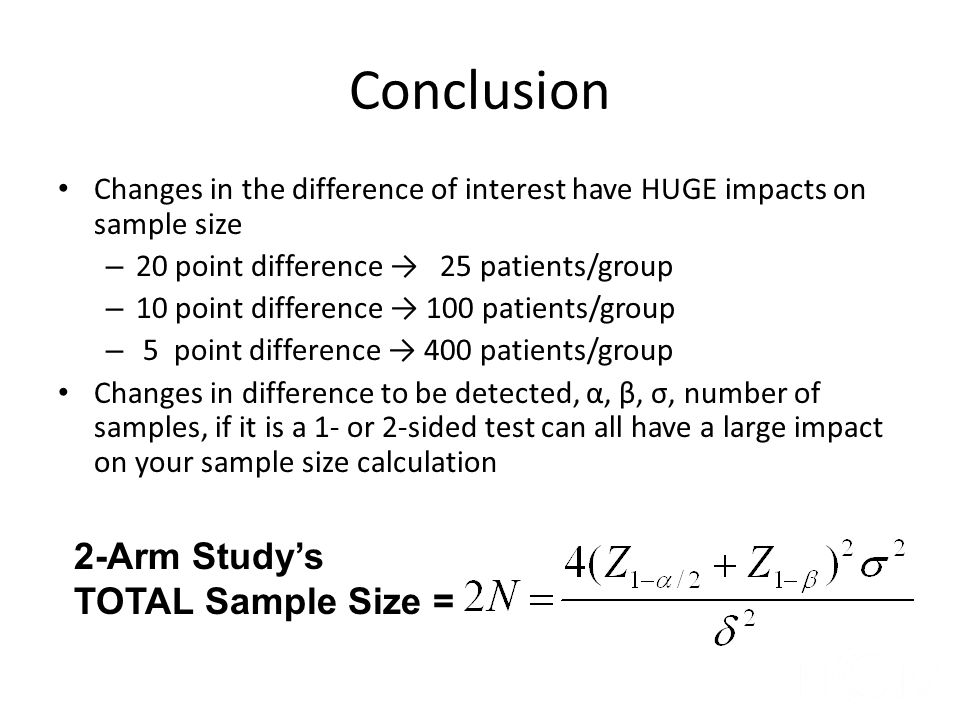 Conclusion 2-Arm Study's TOTAL Sample Size =