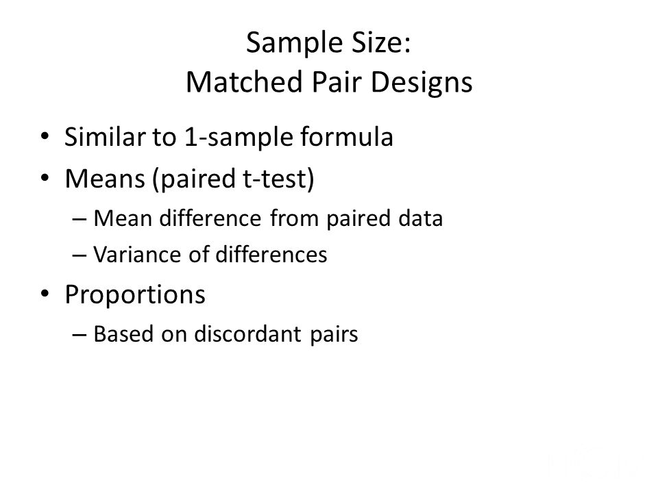 Sample Size: Matched Pair Designs