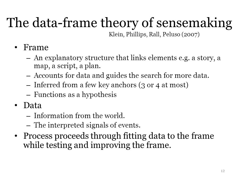 The data-frame theory of sensemaking