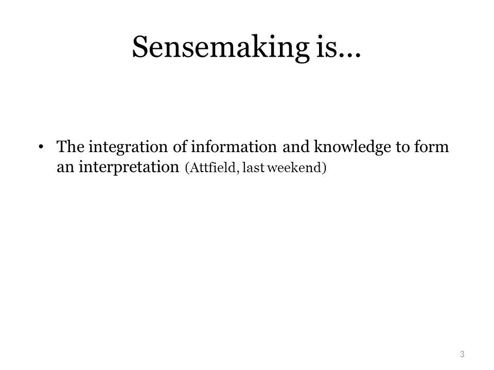 Sensemaking is...