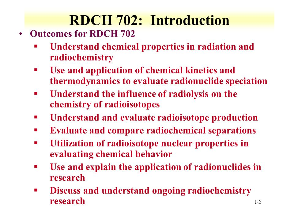 RDCH 702: Introduction Outcomes for RDCH 702