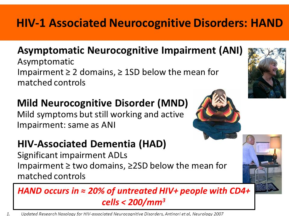 HIV-1 Associated Neurocognitive Disorders: HAND