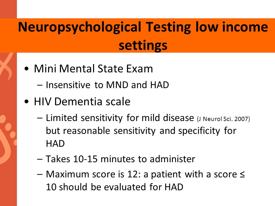 Neuropsychological Testing low income settings