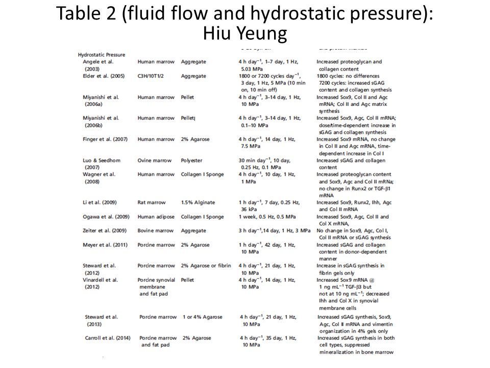 Table 2 (fluid flow and hydrostatic pressure):