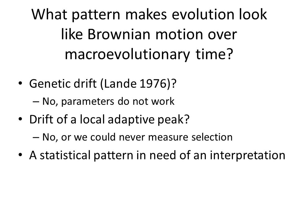 What pattern makes evolution look like Brownian motion over macroevolutionary time