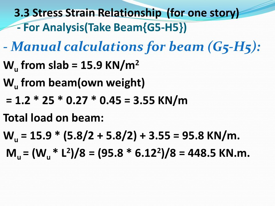 - Manual calculations for beam (G5-H5):