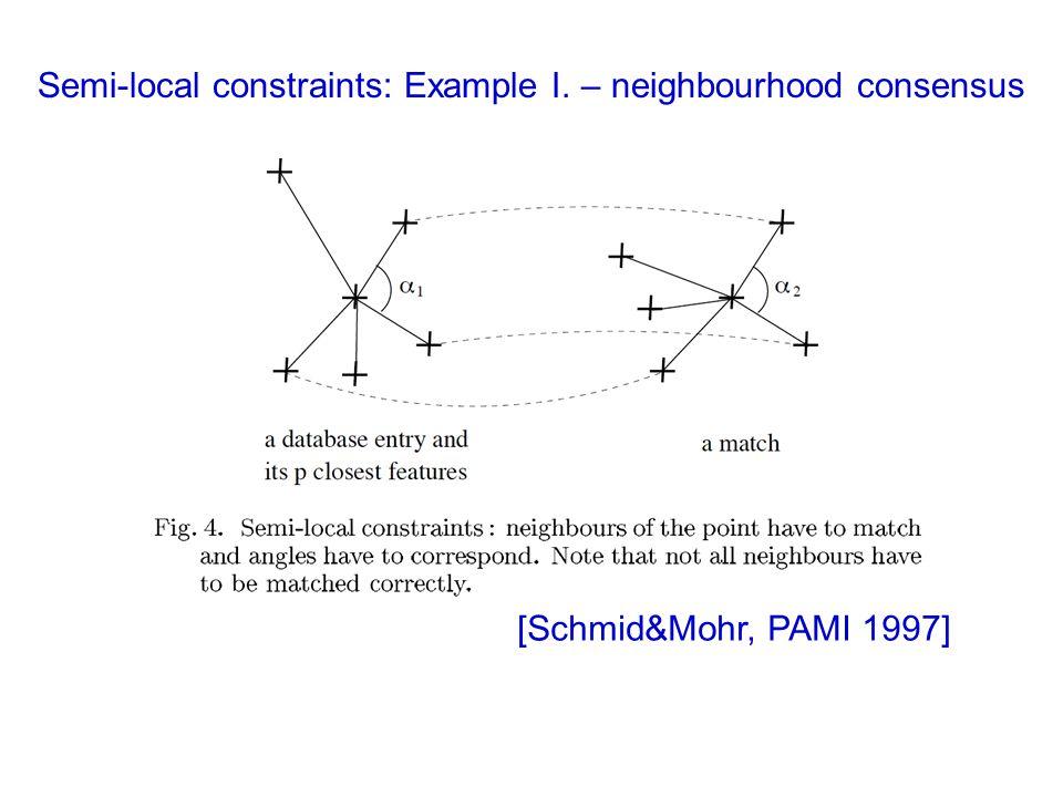 Semi-local constraints: Example I. – neighbourhood consensus