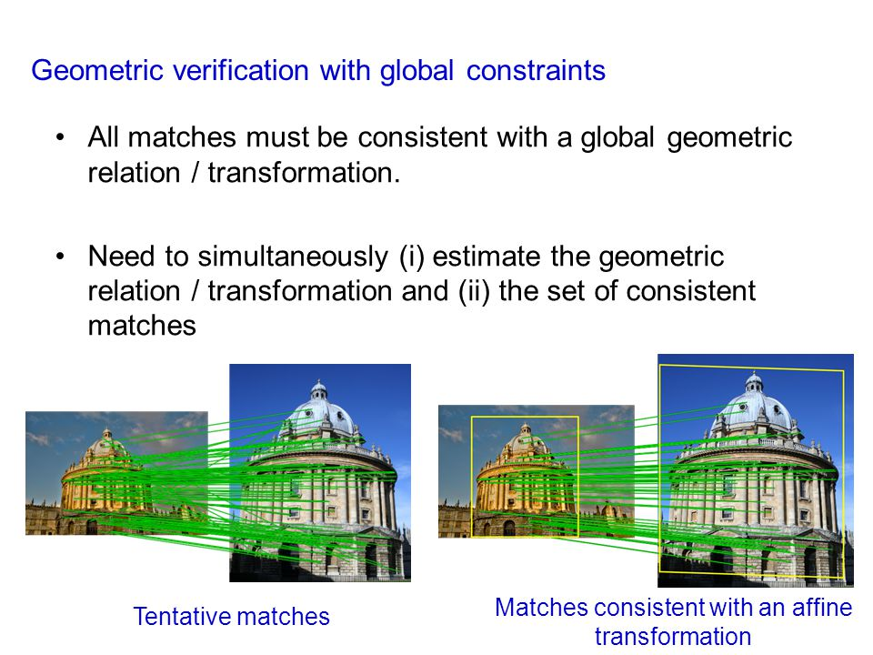 Matches consistent with an affine transformation